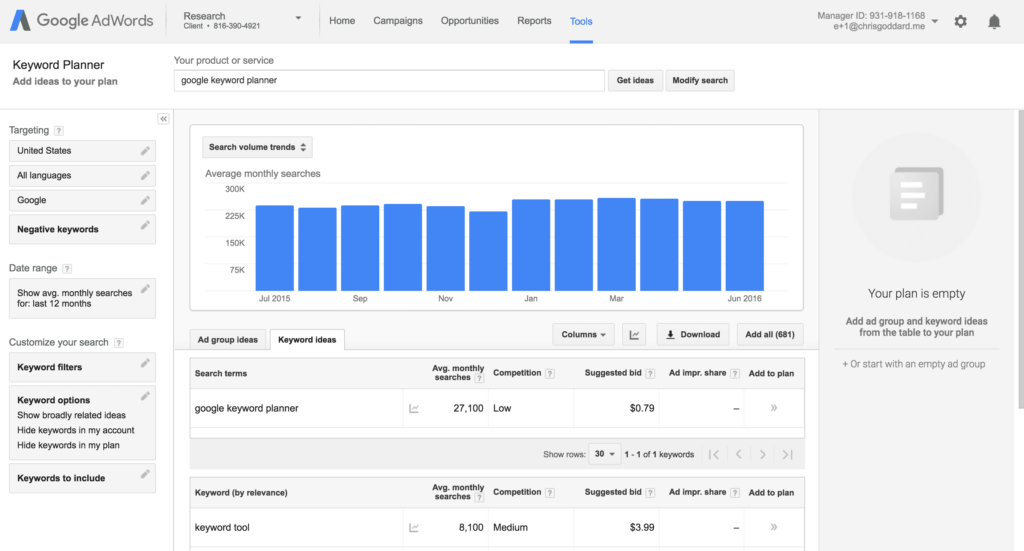 Google Key Planner